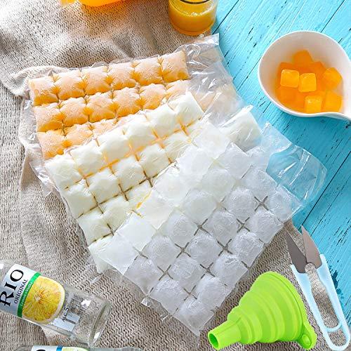 50 bolsas desechables para cubitos de hielo (2400 cubitos de hielo) con embudo plegable y tijeras en forma de U, color aleatorio para cócteles, alimentos, vino, bebida casera