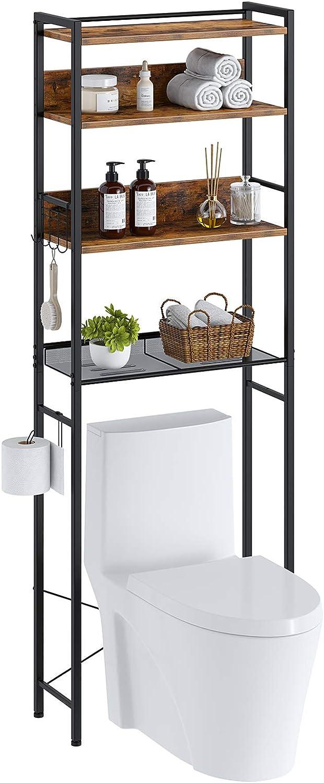 Rolanstar Bathroom Space Saver, 4-Tier Over The Toilet Storage Rack, Wooden Freestanding Bathroom Organizer, Multifunctional Bathroom Toilet Rack, Rustic Brown