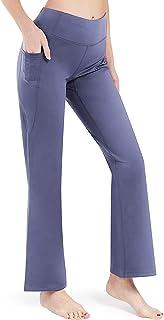 Inno Buttery Soft Women's Bootcut Yoga Pants Capris with Pockets, High Waist Workout Bootleg Flared Wide Leg Pants