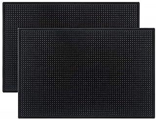 """Tebery Black Mat 18"""" x 12"""" Rubber Bar Service Spill Mat (2 pack)"""