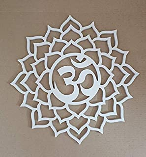 Lasaani PVC, Washable and Water Proof Hindu devotional OM Hanging/stickable Wall decor Piece, White , Medium