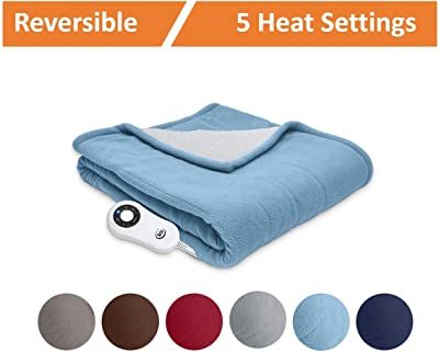 Serta | Reversible Sherpa/Fleece Heated Electric Throw Blanket Slate Blue