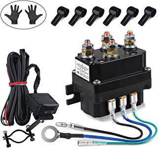 WATERWICH 12V 250A Winch Relay Winch Solenoid Contactor Winch Rocker Thumb Switch Combo with 6 Protecting caps Universal for ATV UTV 2000-5000lbs Winch