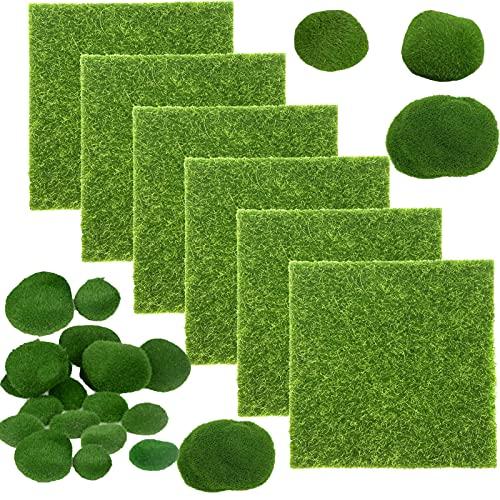 6Pcs Kunstrasen+14Pcs Künstliche Moos künstliche Rasen Matte Künstliche Moos Steine Mooskugel Deko für Miniatur Ornament Mini Garten Puppenhaus Terrarien Basteln