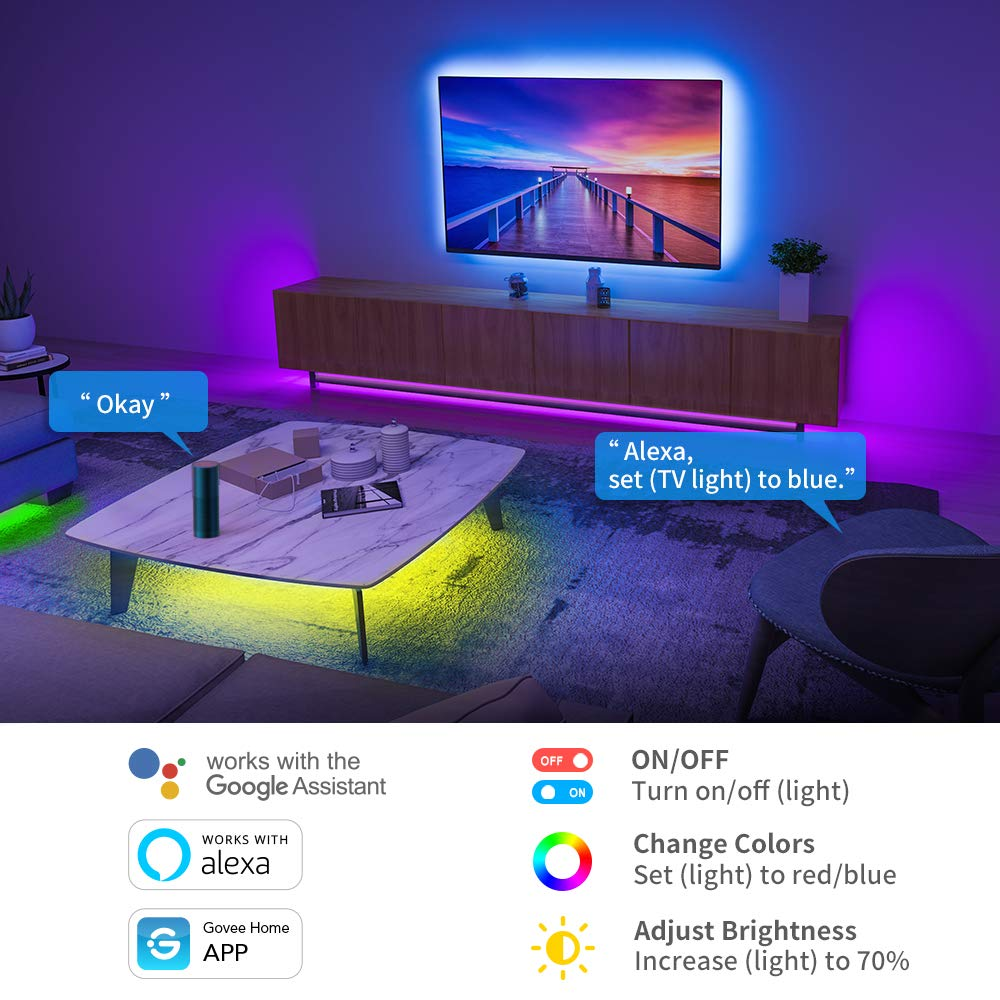 Govee Alexa LED Strip Lights 10m, Smart WiFi App Control LED Lights, Works with Alexa and Google Assistant, Music Sync RGB Color Changing Lights for Bedroom Home Kitchen TV Party, 2 Rolls of 5m [Energy Class A]