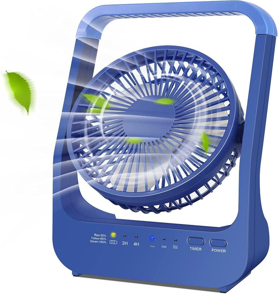 Rechargeable Battery Powered Fan, 20000mAh Battery Operated Fan, USB Desk Fan with Timer, 3 Speeds, Blue