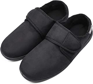 ZTL Men's Wide Width Slippers House Shoes with Adjustable Closures, Memory Foam Diabetic Slippers for Swollen Feet Edema Arthritis Elderly Indoor Outdoor