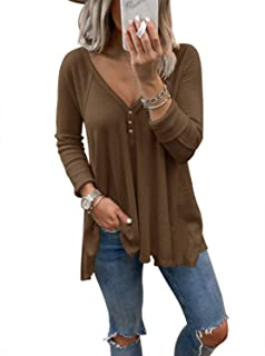 ADREAMLY Adeamly Women's Casual Short Sleeve Button Down V Neck Summer Top Blouses