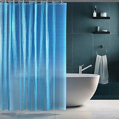 SPARIN Duschvorhang Anti-Schimmel, Anti-Bakteriell, PEVA Wasserdichter Badvorhang blau 3D Kristall Wirkung mit 12 weiße Haken [Umweltfreundlich] [Waschbar] [180x180cm], Bad Vorhang für Badzimmer