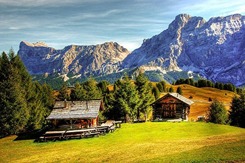 LAMINATED 36x24 Poster: Dolomites Mountains Italy South Tyrol Alpine View Nature Landscape Rock Great Alpine Panorama Hiking Unesco World Heritage Clouds Alm Panorama Sky Hike Sun