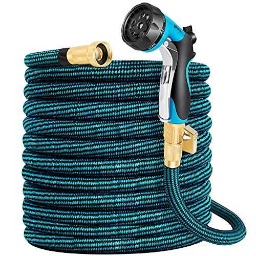 BFULL 100ft Garden Hose, Expandable Water Hose with 10 Functions Spray Nozzle,4 Layers Latex, Durable Flexible Water Hose with Solid Brass Connector, Leakproof Expanding Hose for Watering