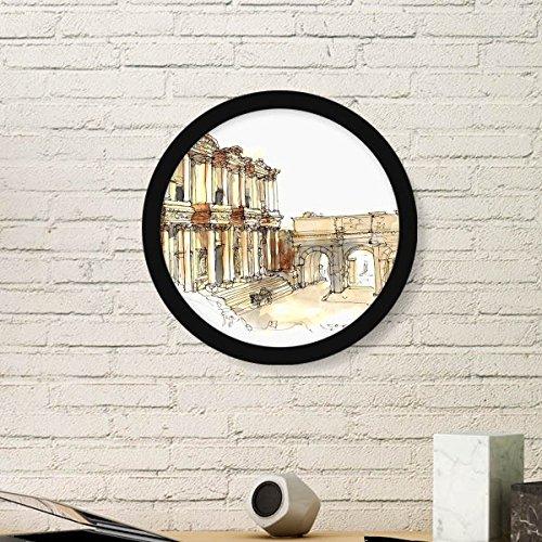 DIYthinker Ephesus in Izmir Türkei Runde Bilderrahmen Kunstdrucke von Paintings Startseite Wandtattoo Geschenk Small Schwarz