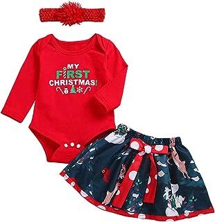 Baby Girls 3PCS My 1st Christmas Santa Costume Romper Bodysuit Tutu Skirt Dress up Headband Party Outfits Red 1st Christmas 3-6 Months