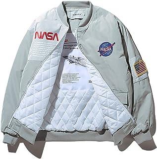 Wildswan Men Biker Bomber Jacket, NASA MA-1 Military Flight Jacket Long-Sleeve Air Force Moto Street Coat Winter B4034