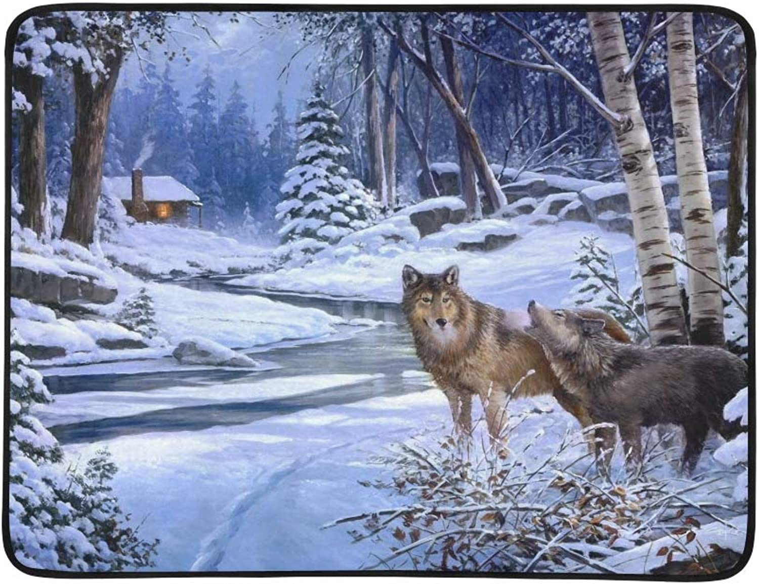 Two Wolves in The Winter Snowy Forest Pattern Portable and Foldable Blanket Mat 60x78 Inch Handy Mat for Camping Picnic Beach Indoor Outdoor Travel