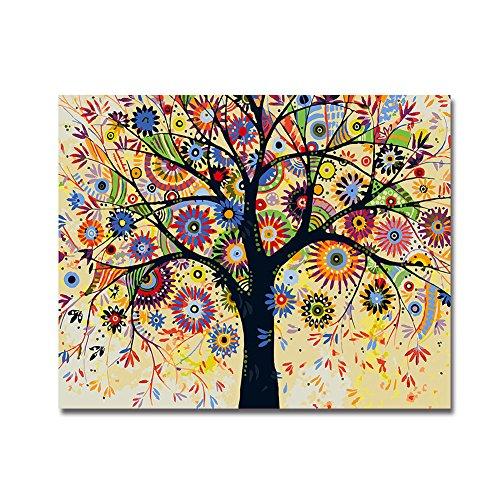 BOSHUN Pintar por Numeros para Adultos Niños Pintura por Números con Pinceles y Pinturas Decoraciones para el Hogar Árbol Abstracto (16 * 20 Pulgadas, con Marco de Madera)