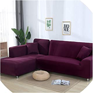fantasticlife06 1Pc L Shaped Sofa Cover Solid Couch Cover for Living Room Sofa Cover Slipcovers for 1/2/3/4-Seater Sectional Sofa,Pale Mauve,1Pc 235-300Cm Cover,China