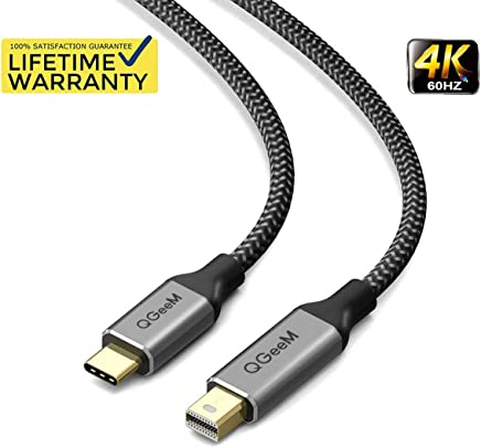 USB C to Mini DisplayPort, QGeeM 4K@60HZ Braided 6ft USB 3.1 Type C to Mini DP Cable for MacBook Pro 2017/2016, Surface Book 2, Galaxy S8 S9(Not Support Thunderbolt2, Any Monitor or HDD)