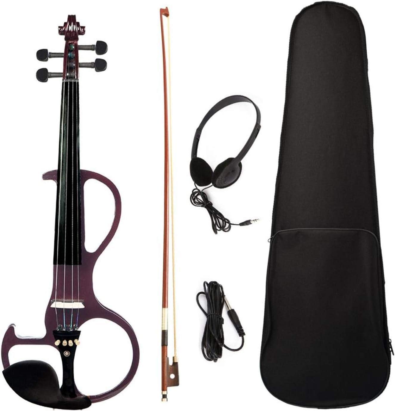 KEPOHK 4/4 violín eléctrico de tamaño completo violín de 4 cuerdas 4/4 instrumentos musicales con estuche, auriculares de audio, arco negro