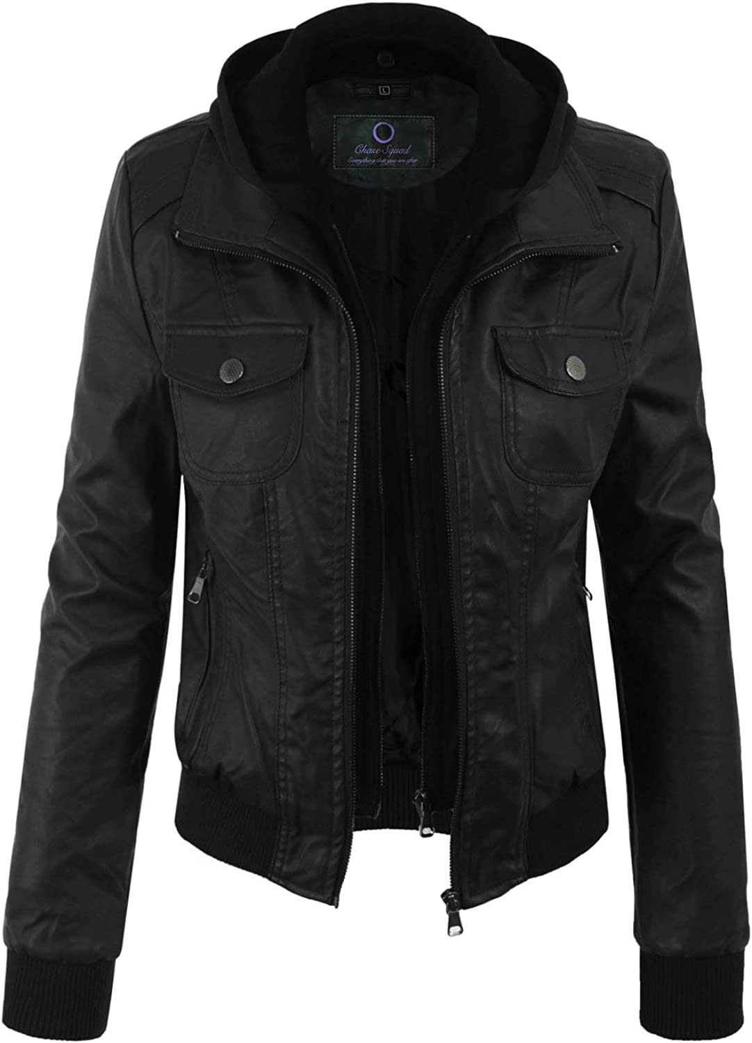Chase Squad Faux Leather Jackets for Women  Short Body Faux Leather Jackets Black