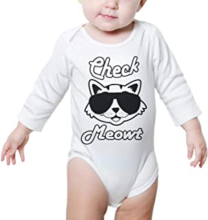 Check Meowt Cat Long Sleeves o-3 Months Baby Girl Onesies