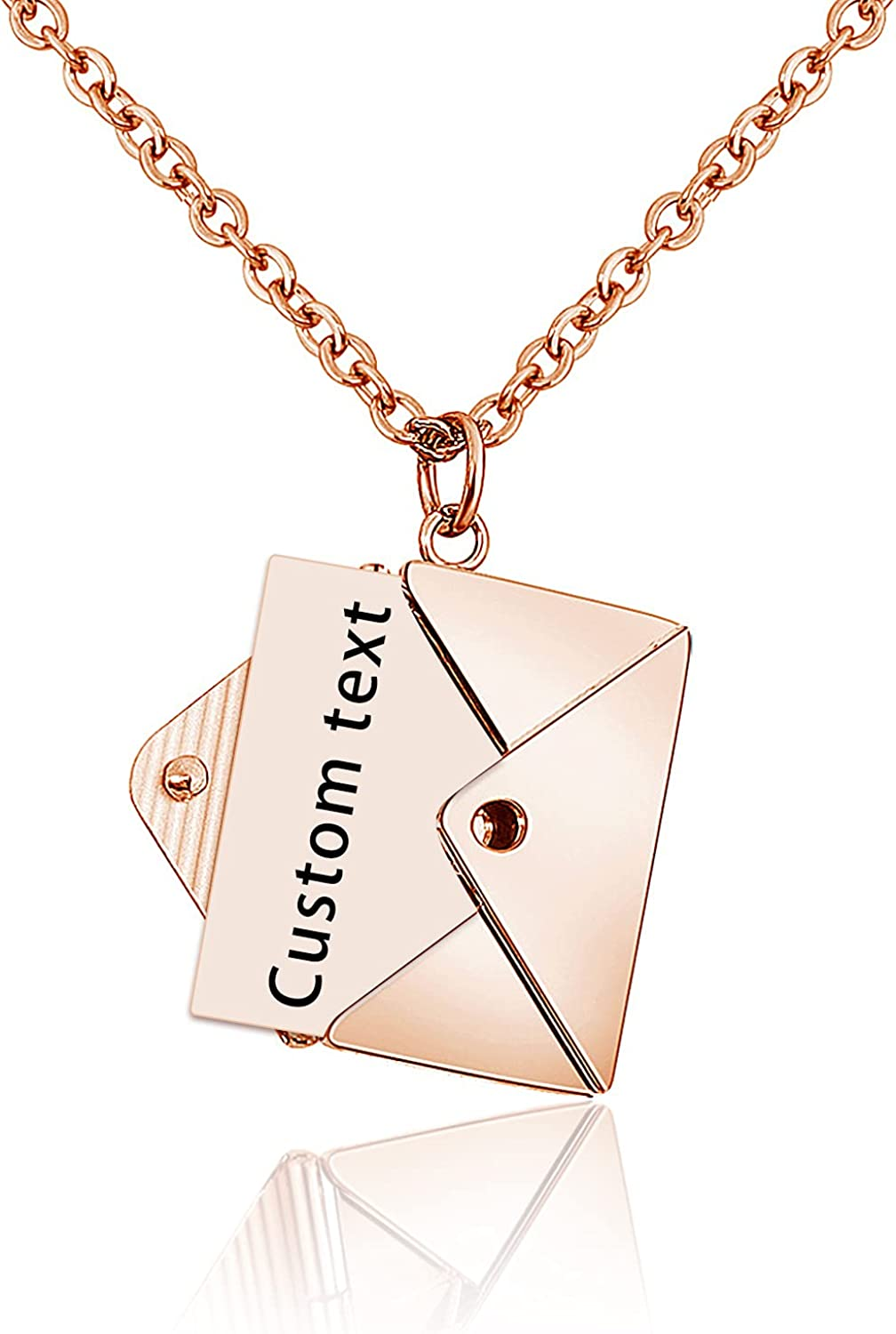 Custom Personalized Message Envelope Locket Necklace Pendant Jewelry Gift for Women Girls Lover