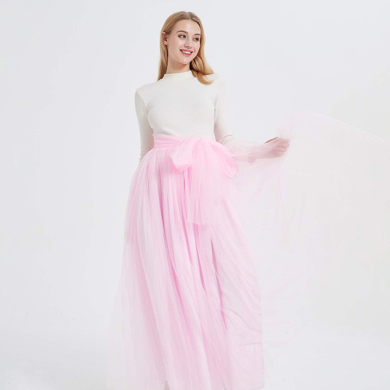 Falda de tul larga para mujer noche talle alto con lazo para bodas YULUOSHA fiestas longitud hasta el suelo