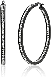 Gem Stone King 2inches Stunning Stainless Steel Black High Shine Inside-Out Hoop Earrings With CZ