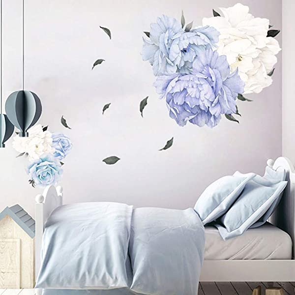 FORUU 2019 Wall Stickers Decals Murals Peony Rose Flowers Wall Art Sticker Kid Room Nursery Home Decor GiftUnder 5 Dollars Discount New Arrival