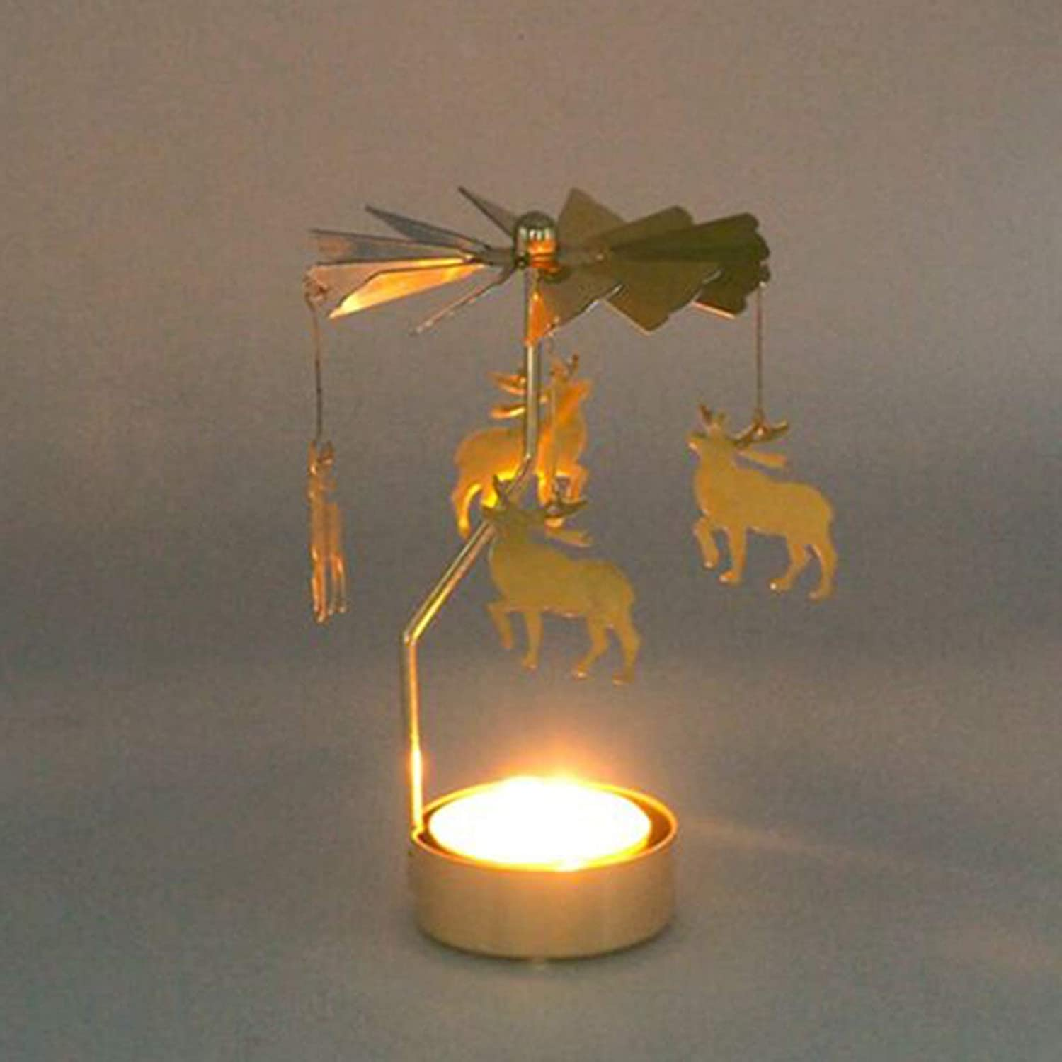 AKlamater Rotary Tea Light Carousel #1 spinning candle holder Thermal rotation Windmill Candlesticks for Living Room wedding ceremony office Christmas Dinning Decoration