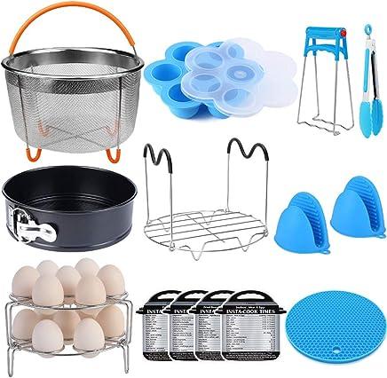 15 Pieces Pressure Cooker Accessories Set Compatible with Instant Pot Accessories 6 qt 8 Quart - Steamer Basket,  Springform Pan,  Stackable Egg Steamer Rack,  Egg Bites Mold,  Kitchen Tongs & More