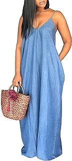 Womens Summer Denim Maxi Dresses Spaghetti Strap Deep V Neck Sleeveless Loose Dress