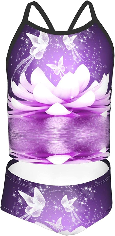 OcuteO Beautiful Lotus Flower Butterfly On Purple Swimsuit Two Piece Bathing Suits Pat