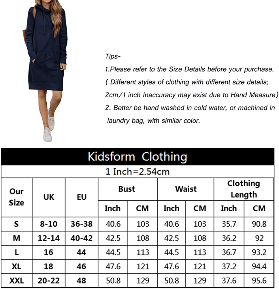 Kidsform Hoodie Damen Lose Kapuzenpullover Langarm Hoodies Kleid Sweatshirt Pulli 3-marine