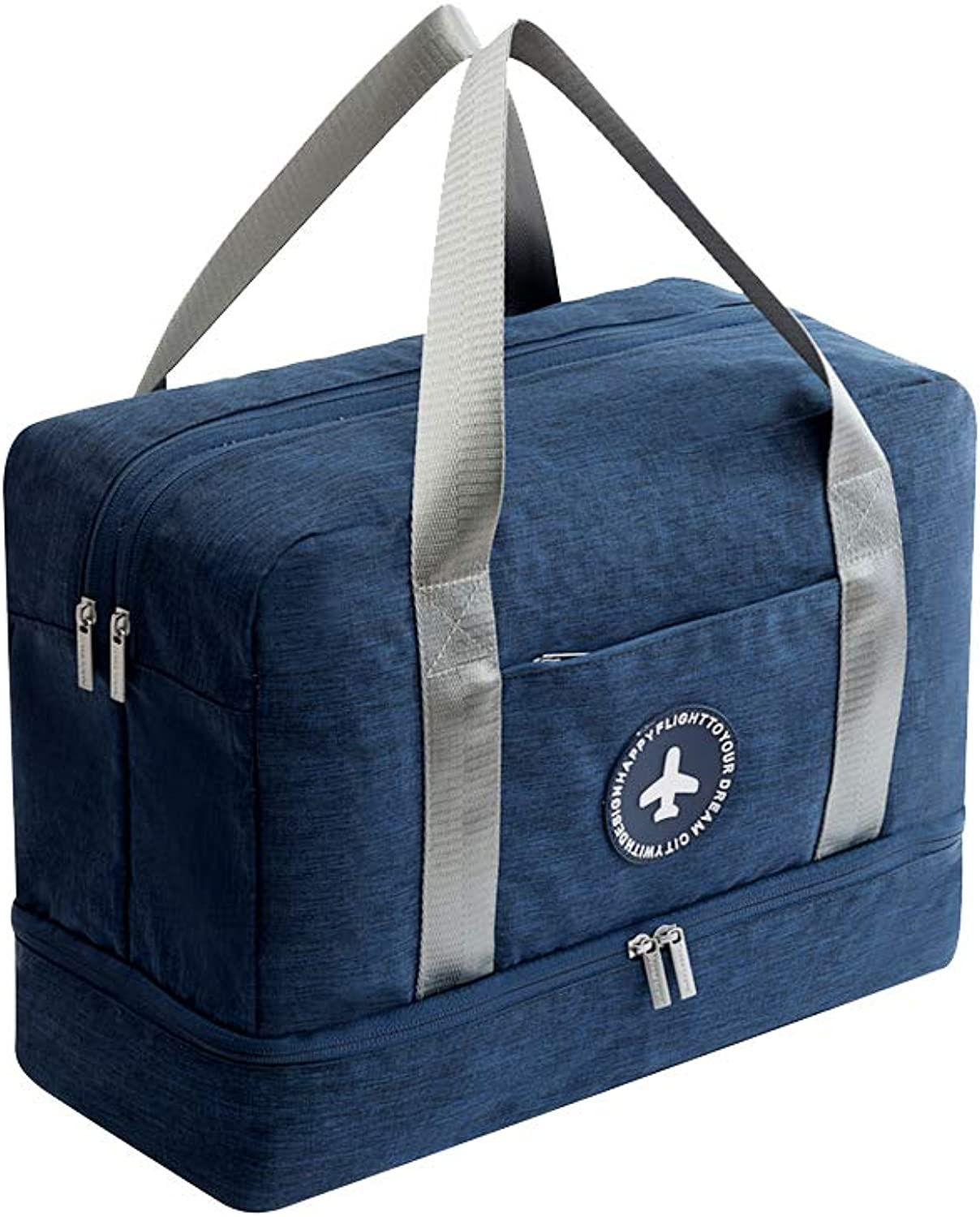 Lightweight Travel Duffel Bag Waterproof Sports Gym Bag with shoes Compartment for Men and Women, blueee