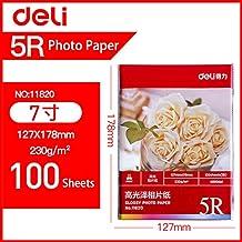 Papel fotográfico brillante resistente al agua Deli lista alta papel de impresión fotográfica 230 / 200g A4 / A3 / 4R / 5R papel de impresión de inyección de tinta colorida al por mayor-11820