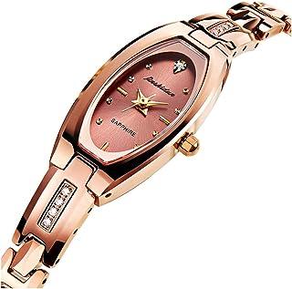 JSDUN Women Lady Elegant Slim Bracelet Square Oval Faces Diamond Dress Waterproof Mechanical Automatic Wrist Watches, Silver/Rose Gold/Gold Tungsten Steel Tone