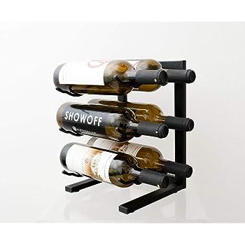 VintageView Tabletop Series - 6 Bottle Tabletop Wine Rack (Satin Black) - Stylish Modern Wine Storage with Label Forward Design