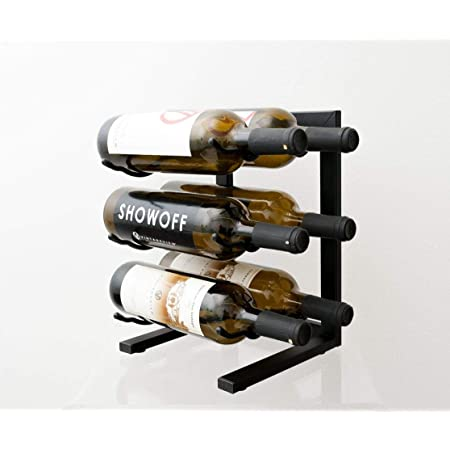 Vintageview Tabletop Series 6 Bottle Tabletop Wine Rack Satin Black Stylish Modern Wine Storage With Label Forward Design Kitchen Dining
