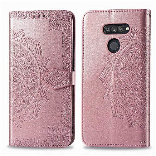 Bear Village Hülle für LG K50S, PU Lederhülle Handyhülle für LG K50S, Brieftasche Kratzfestes Magnet Handytasche mit Kartenfach, Roségold