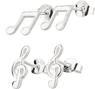 Edelstahl Ohrstecker Notenschlüssel Violinschlüssel Musik Note Unisex silberfarb