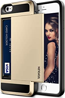 Vofolen Case for iPhone 6 Case iPhone 6S Case Wallet Cover Card Slot Impact Resistant Protective Shell Shockproof Rubber Bumper Anti-scratches Hard Cover Card Holder Wallet Case for iPhone 6 6S Gold
