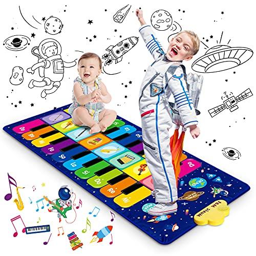 Magicfun Cielo Estrellado Alfombrilla de Piano, Alfombrilla Musical para Bebé Niños Niñas, Juguetes Educativos Alfombra Baile con 8 Instrumentos, 10 Canciones y 20 Teclas, 120 x 48 cm