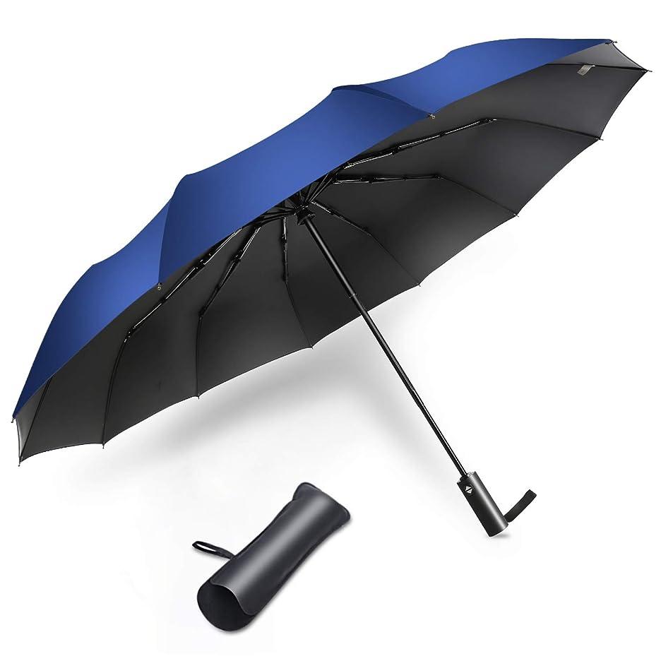 顕著クレジットテザー折りたたみ傘 ワンタッチ 自動開閉 12本骨 メンズ 大きい 頑丈 耐強風 おりたたみ傘 超撥水 210T高強度グラスファイバー 梅雨対策 晴雨兼用 二重構造 ビッグサイズ 傘カバー付き (ブルー)