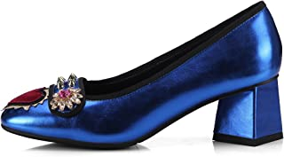 DKFJKI Zapatos De Mujer Zapatos Cabeza Cuadrada Diamantes De Imitación Lentejuelas Remaches Talón