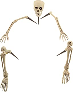 Halloween Haunters Life Size Realistic Groundbreaker Skeleton Bones Prop Decoration - Scary Plastic Body Parts Skull, Hands, Feet, Arms, Legs with Lawn Stakes - Graveyard Tombstone Haunted Grave