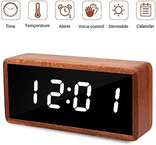 MiCar Digital Alarm Clock, Solid Wood LED Desk Alarm Clock with Large Display, USB Charging Port, Adjustable Brightness Dimmer, 12/24Hr, 3 Alarms for Kids, Bedroom, Home, Dormitory, Office
