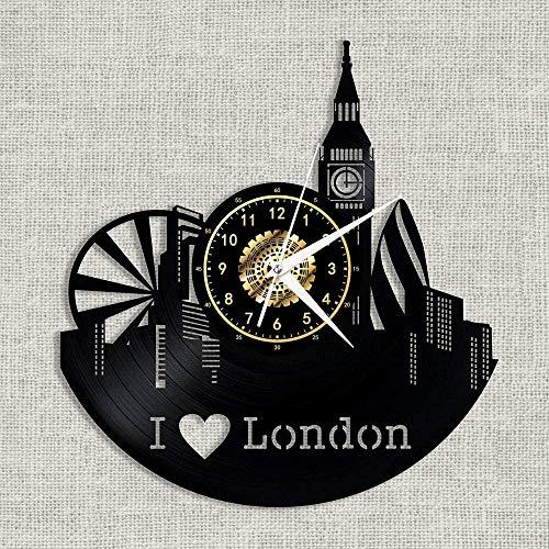 szhao Reloj de Pared con Disco de Vinilo, Elegante, Creativo, Hecho a Mano, Hermoso mobiliario para el hogar, 12 Pulgadas, I Love London