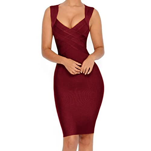 Whoinshop Women s V-Neck Strapless Clubwear Bodycon Bandage Dress … 82028705c278
