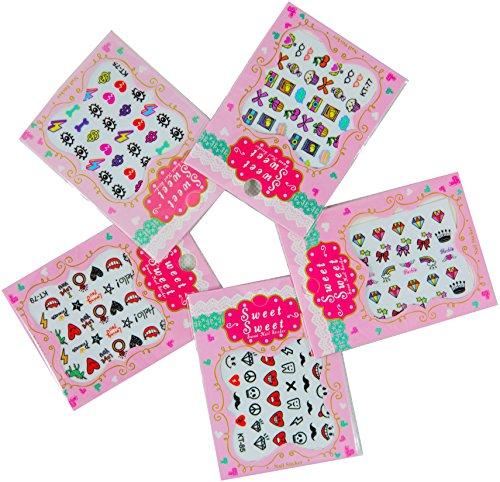 NOVAGO 5 mini planches de stickers pour ongles, assortiment varié, motif mignon